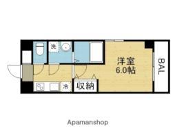 近鉄難波線 今里駅 徒歩7分の賃貸マンション 6階1Kの間取り