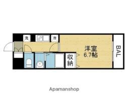 Osaka Metro谷町線 平野駅 徒歩3分の賃貸マンション 7階1Kの間取り