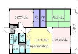 近鉄大阪線 桜井駅 徒歩5分の賃貸マンション 3階3LDKの間取り