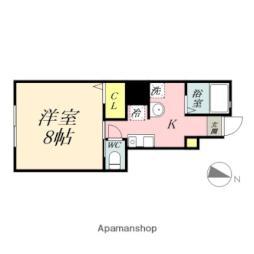 岡山電気軌道東山本線 東山・おかでんミュージアム駅駅 徒歩35分の賃貸アパート 1階1Kの間取り