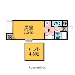 西鉄天神大牟田線 大保駅 徒歩8分の賃貸アパート 1階1Kの間取り