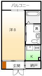 SAin・K 1階1SKの間取り