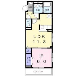 大室3丁目アパート(024617201) 2階1LDKの間取り