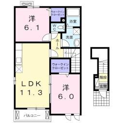 レトワールB 2階2LDKの間取り