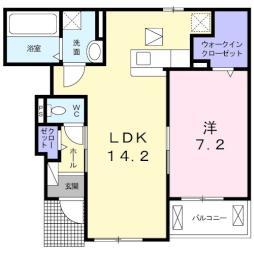 ワンゾーラ 1階1LDKの間取り