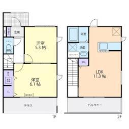 JR常磐線 羽鳥駅 徒歩14分の賃貸アパート 1階2LDKの間取り