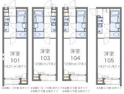 クレイノ桜ソレイユ 2階1Kの間取り